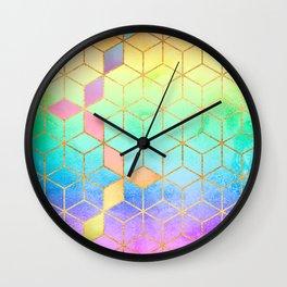 Rainbow Cubes Wall Clock