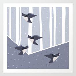Elegant Origami Birds Abstract Winter Design Art Print