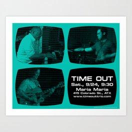 TIME OUT, MARIA MARIA (4, GREEN-BLUE) - AUSTIN, TX Art Print