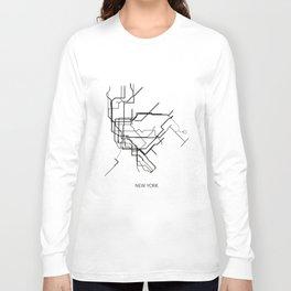 New York Subway Map Print New York Metro Map Poster,Subway Map Print,Metro Map Poster Long Sleeve T-shirt