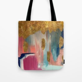 Gold Leaf & Indigo Blue Abstract Tote Bag