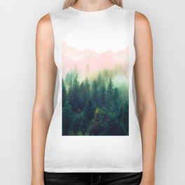 Watercolor mountain landscape Biker Tank