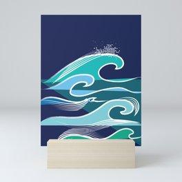 Simple Ocean Waves Pattern Contemporary Blues Mini Art Print