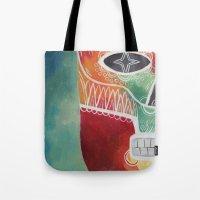 calavera Tote Bags featuring Calavera 1 by Santiago Uceda