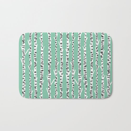 Birch Tree northwest minimal forest woodland nature pattern by andrea lauren Bath Mat