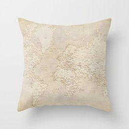 Vintage world map in sepia and gold, Kellen Throw Pillow