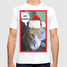 CHRISTMAS CAT White Mens Fitted Tee MEDIUM