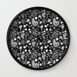 Paisley Power Black and White Wall Clock