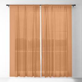 Minimal Burnt Orange Accent Color Sheer Curtain