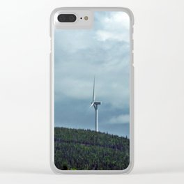Windmill in the clouds Clear iPhone Case