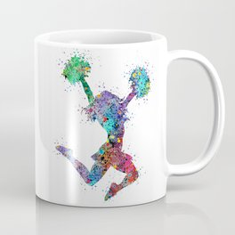 Cheerleader Art Girl Poms Dance Cheerleader Gifts Watercolor Print Sports Poster Dancing Gift Coffee Mug
