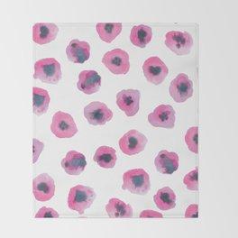 Printed Poppies - Fuschia Throw Blanket