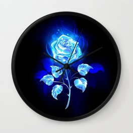 Burning Blue Rose Wall Clock
