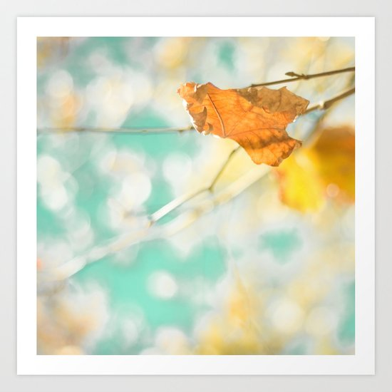 Gold Autumn Fall Leafs on Dreamy Blue Turquoise Vintage Retro Sky  Art Print
