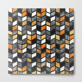 Fall Herringbone Metal Print