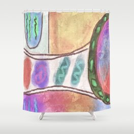 Original Abstract Digital Painting Shower Curtain
