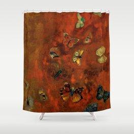 "Odilon Redon ""Evocation of butterflies"" Shower Curtain"