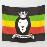rasta Wall Tapestries featuring Rasta Lion by Awesome