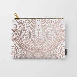 Botanical Lotus - Rose Gold Carry-All Pouch