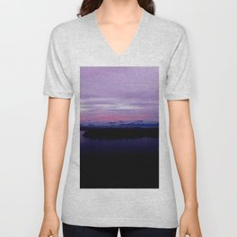 mahinapua golden hours purple reflections clouds dark Unisex V-Neck