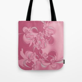 Pink Fractal Flowers Tote Bag