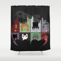 gotham Shower Curtains featuring Gotham Villains by I.Nova