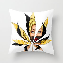 Shy face universe weed sex position Throw Pillow