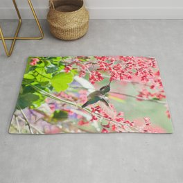 Hummingbird drinking Coral Bell Flowers by CheyAnne Sexton Rug