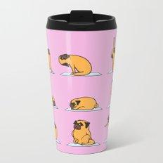 Pug Yoga // Pink Metal Travel Mug