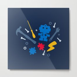Young Engineer - Blue, Red and Yellow Metal Print