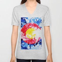 Colorado Watercolor Flag Unisex V-Neck