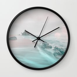 Dreamy Beach In Pink And Turquoise Wall Clock