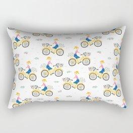 Woman Riding On A Bike Rectangular Pillow