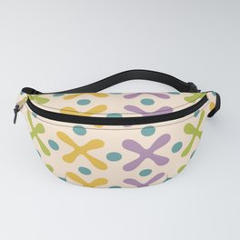 Mid Century Modern X and Dot Pattern Yellow Lavender and Chartreuse Fanny Pack