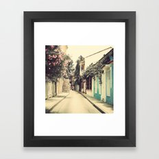 Just like a dream street, Cartagena (Retro and Vintage Urban, architecture photography) Framed Art Print