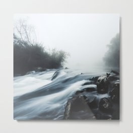 Cascade waterfall on foggy mystical morning Metal Print