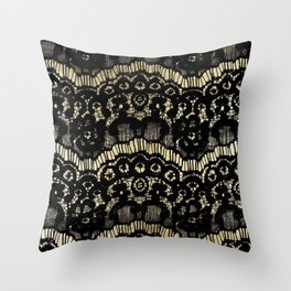 Luxury chic faux gold black floral french lace Throw Pillow