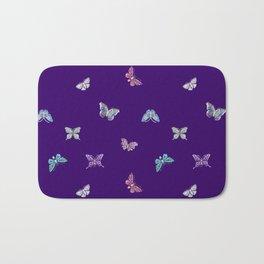 Christmas Butterfly Ornaments on purple Bath Mat