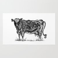 cow Area & Throw Rugs featuring Cow by Ejaculesc