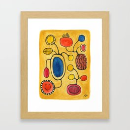 Orbs N Lines - Bird Pond Flowers Framed Art Print