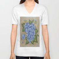 hydrangea V-neck T-shirts featuring HYDRANGEA by TRISHSINDOORGARDEN