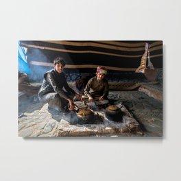 Bedouin Life - Drinking tea in Wadi Rum Metal Print