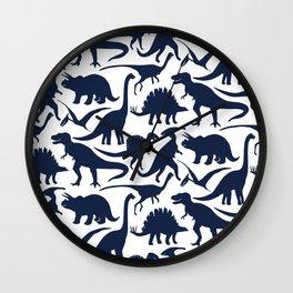 Little Dinosaur Friends - indigo Wall Clock