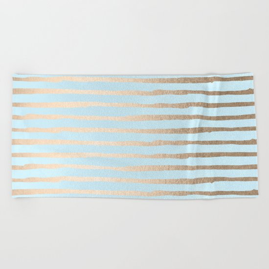 Abstract Stripes Gold Tropical Ocean Sea Turquoise Beach Towel