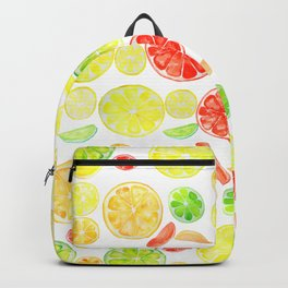 colorful citrus fruit watercolor Backpack
