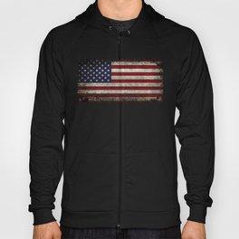 American Flag, Old Glory in dark worn grunge Hoody