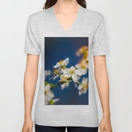 Beautiful White Jasmine Flowers With Green Leaves Against A Blue Background Unisex V-Neck