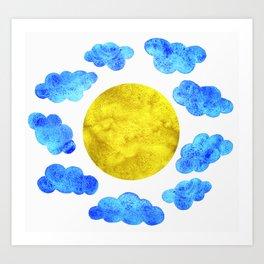 Cute blue cartoon clouds and sun. Art Print