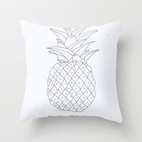 pinapple Throw Pillows featuring pinapple by Ayşe Sezaver