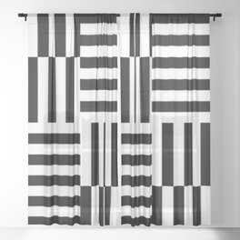 Geometrical abstract black white stripes pattern Sheer Curtain